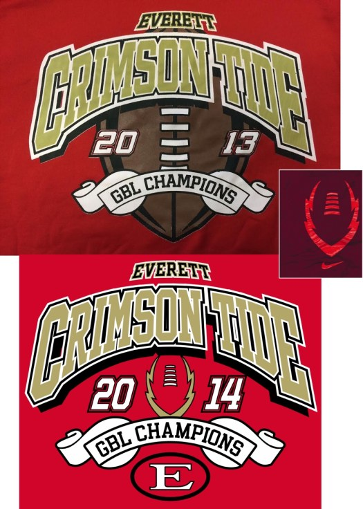 collage image showing a sample shirt and my adapted design for Everett Crimson Tide Football