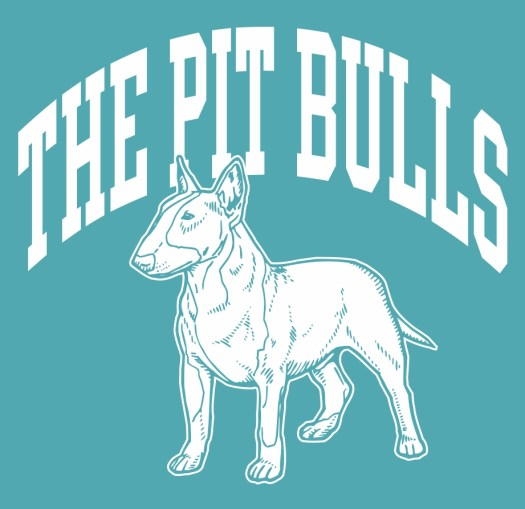 Design: The Pit Bulls text with a pit bull underneath