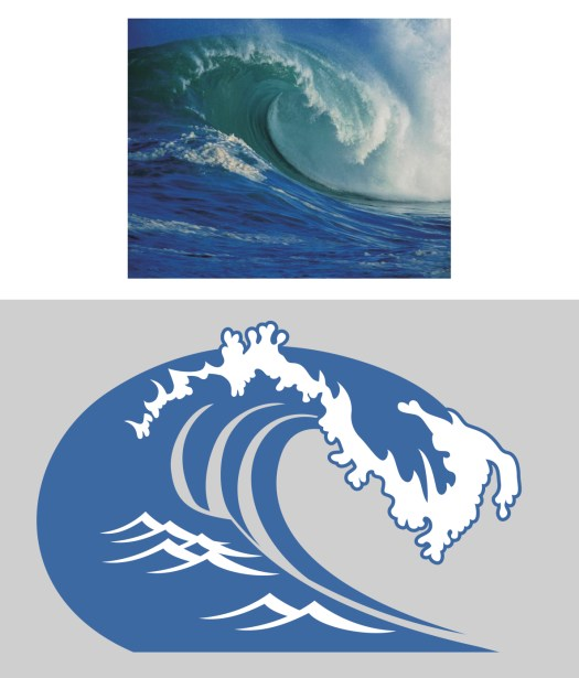 photo of an ocean wave above, illustration below