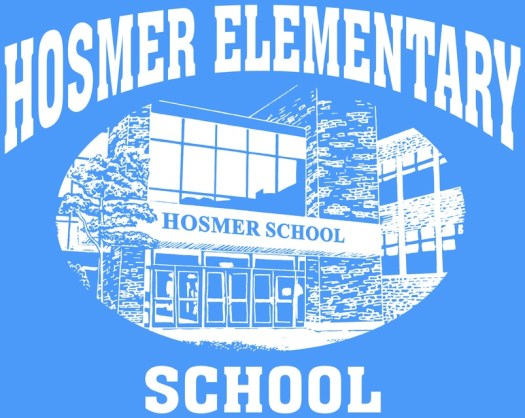 Hosmer Elementary School text around a picture of the front entrance of the building