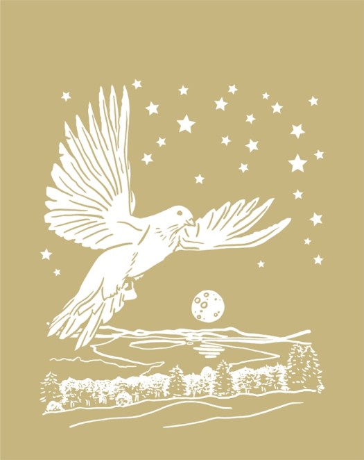 Illustration of a dove in the foreground, with the moon and stars behind, and a field, trees, and frozen lake