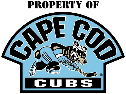 finished cape cod cubs vector color logo with bear hockey skater
