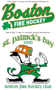 final color proof for boston fire hockey saint patrick's day tees