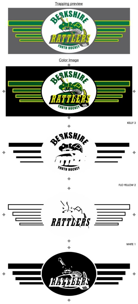color separations laid out step by step for a berkshire rattlers hockey design