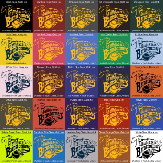 image of many different color options for the trailblazers and barnstormers together design