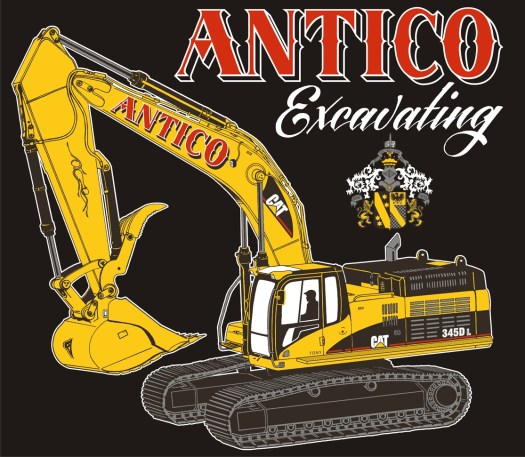 Illustration: Antico Excavating design with large ornate excavator and Tony Antico's silhouette in the cab