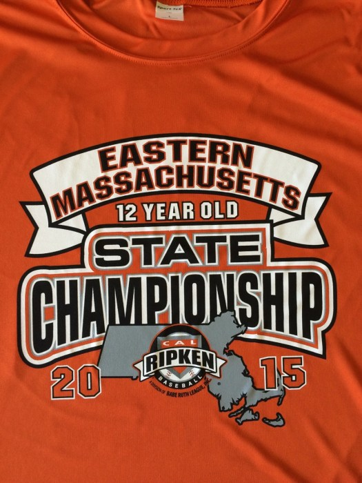 Printed T-shirt: Cal Ripken logo, Massachusetts map, banner