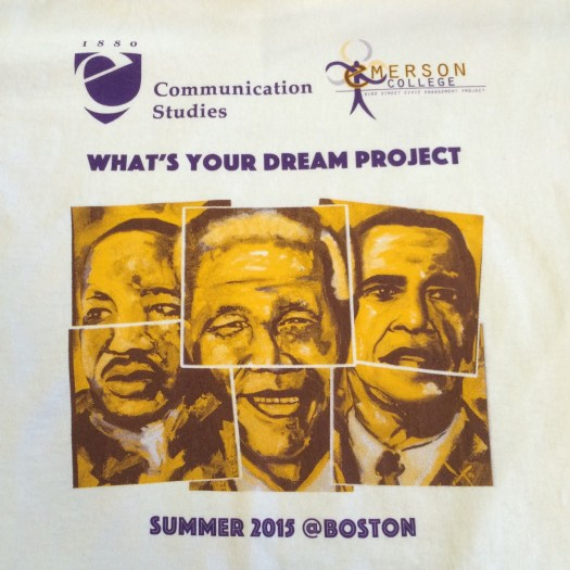 Printed T-shirt: Emerson College logos, paintings of Martin Luther King, Jr, Nelson Mandela, and Barack Obama