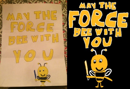 before and after images of a childs drawing adapted into art for screen printing. Bee holding lightsaber