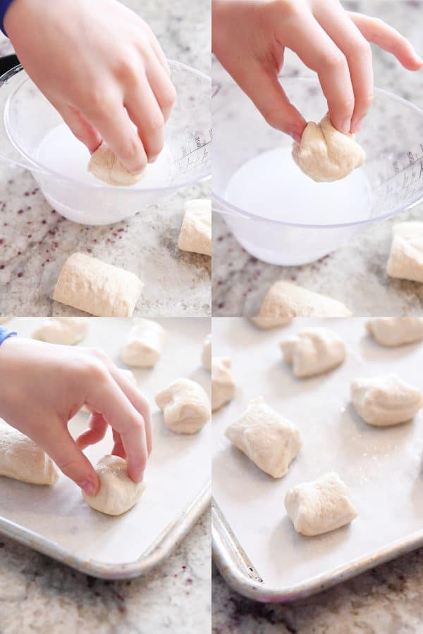 dipping pretzel bite dough in baking soda and water solution