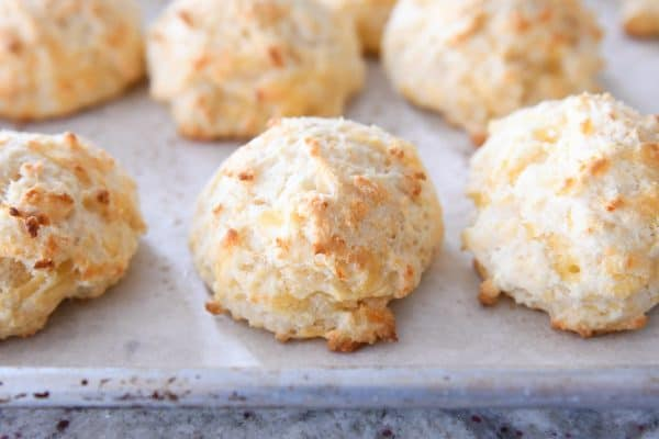 baked and unbuttered cheesy garlic drop biscuit