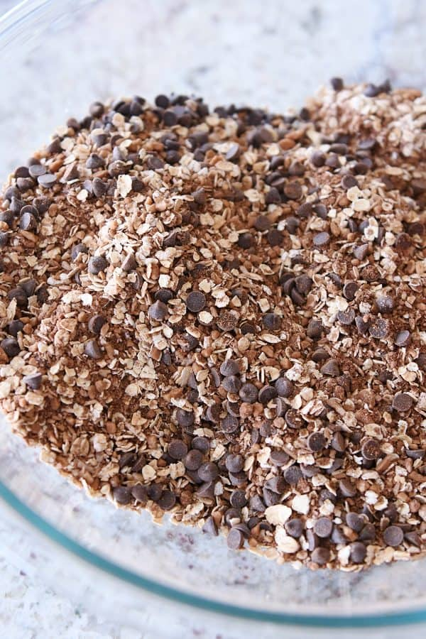 mini chocolate chips mixed into granola dry ingredients