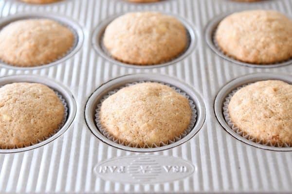baked banana muffins in muffin tin