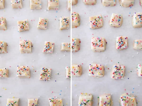 unbaked and baked funfetti shortbread bites