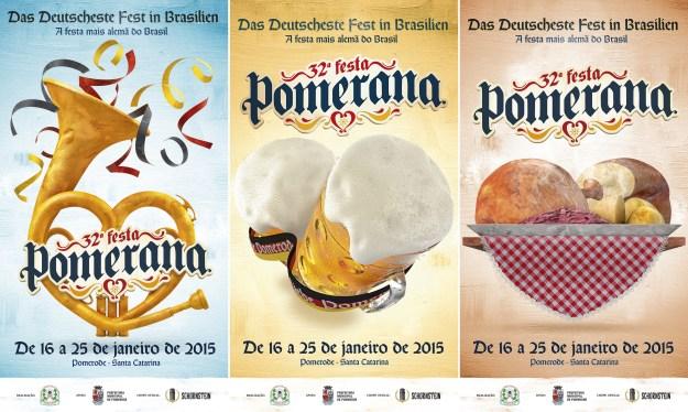 Evento de 2015 tem três cartazes oficiais que celebram a música, o chope e a gastronomia locais. Imagem: Reprodução