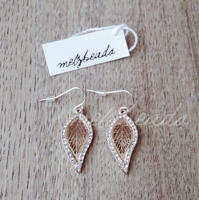 Rose Gold Crystal Leaf Dangle Drop Earrings