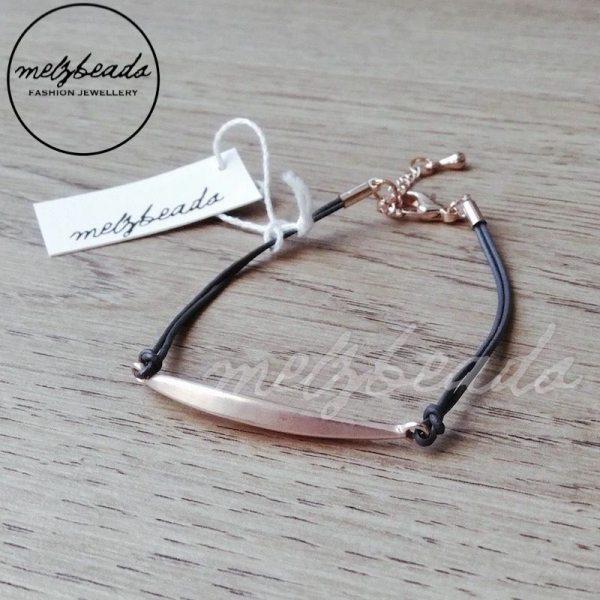 Leather Grey Bracelet with Rose Gold Bar Detail