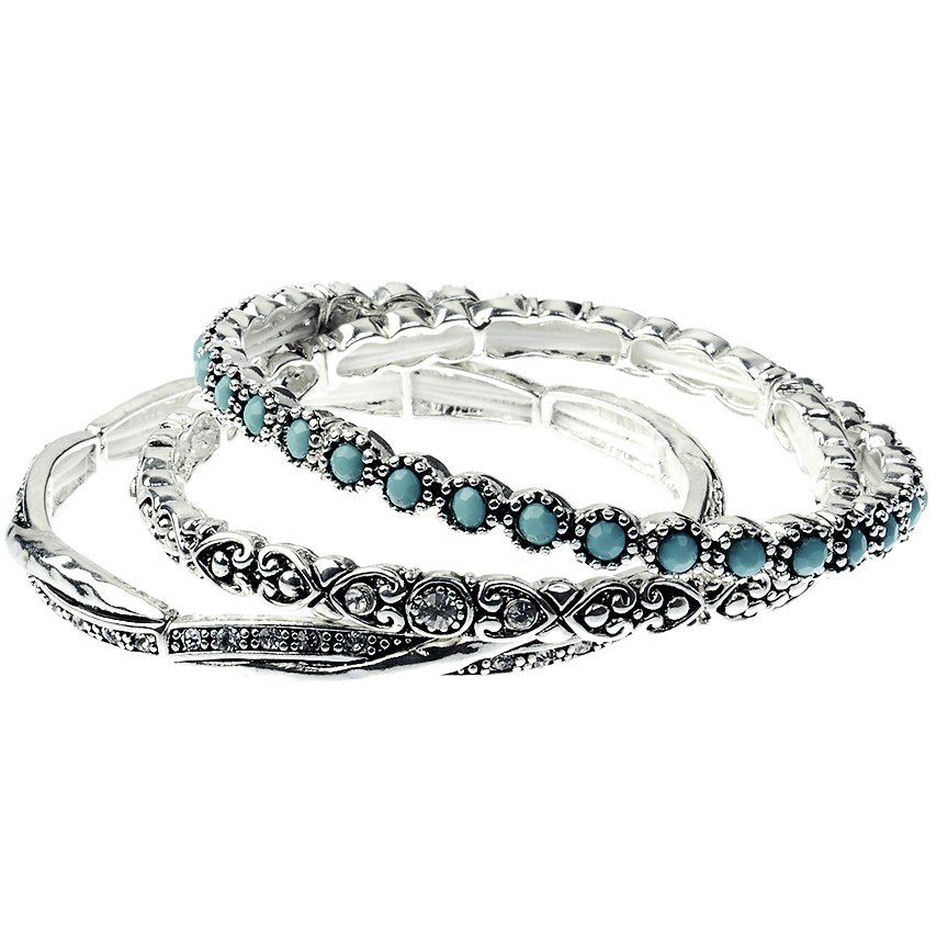 Antique Vintage Silver Tone Bracelets Bangles with Turquoise