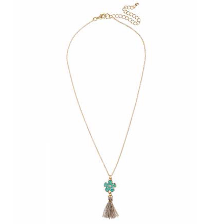 Green Flower with Taupe Tassel Pendant Necklace in Gold