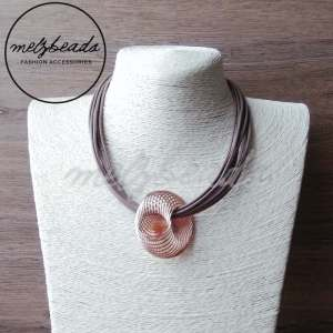 3D Rose Gold Pendant Layered Necklace