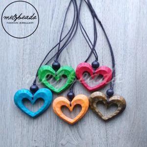 Wooden Heart Pendant Long Necklace