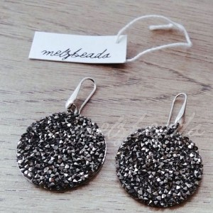 Black & Silver Sparkle Glitter Earrings