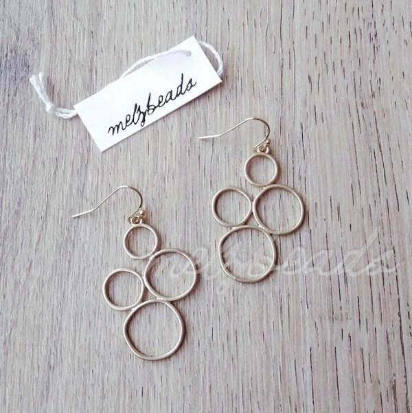 Circle Cutout Matt Gold Earrings