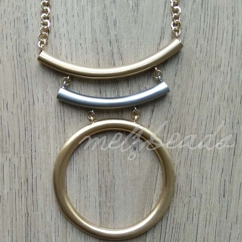 2 Tone Circle Statement Silver Gold Necklace