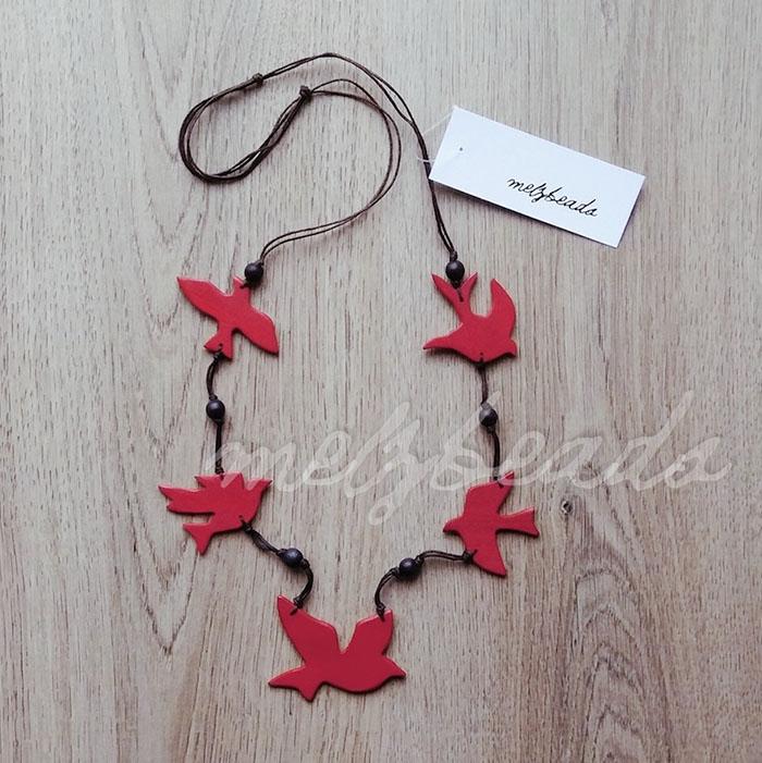 Wooden Red Sparrow Bird Necklace