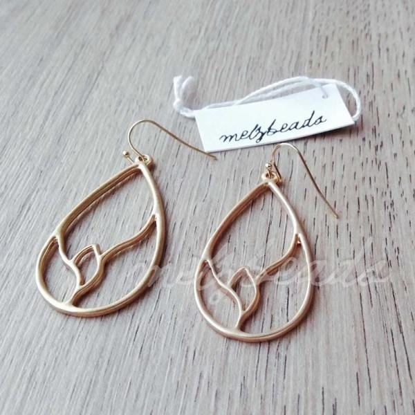 Matt Gold Teardrop Earrings
