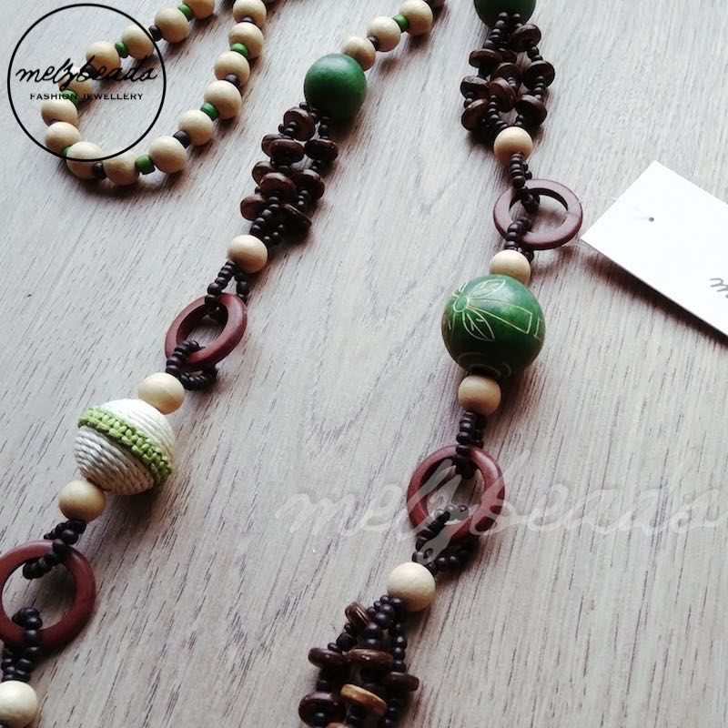 Natural Green Earth Tone Wooden Beaded Necklace