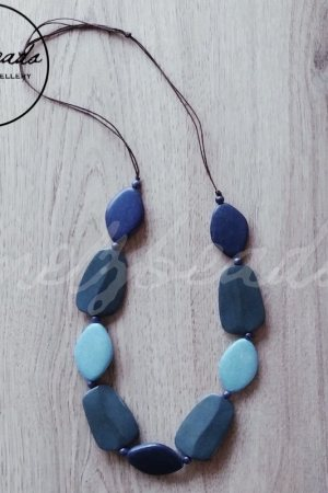 blue grey multi shape wooden necklace