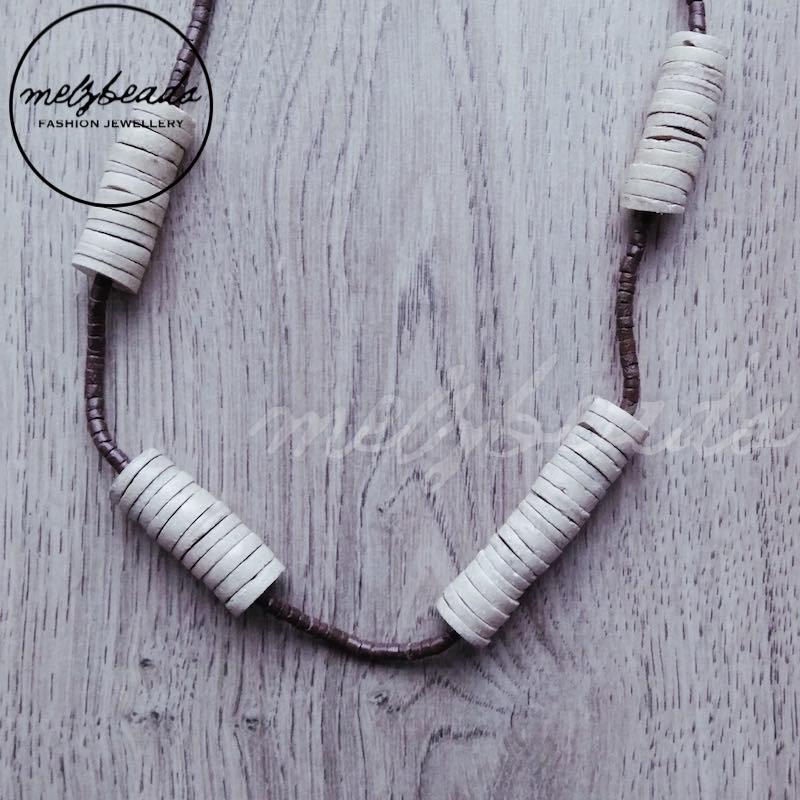 Tubular Gathered Wooden Bead Necklace