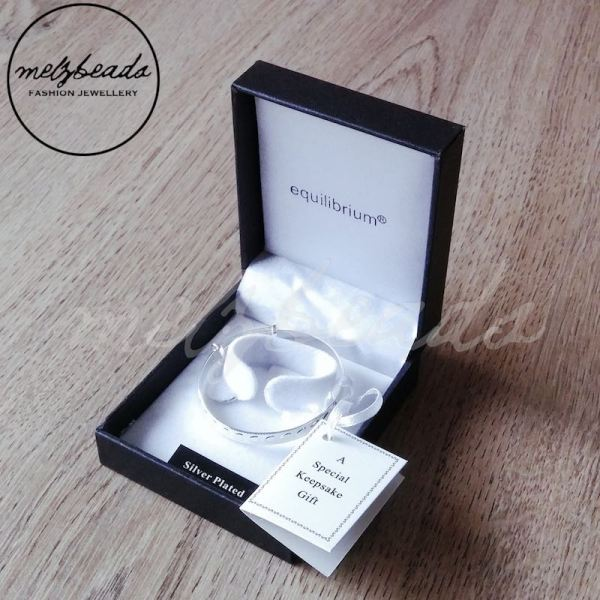 Equilibrium Silver Plated Baby Christening Heart Bangle