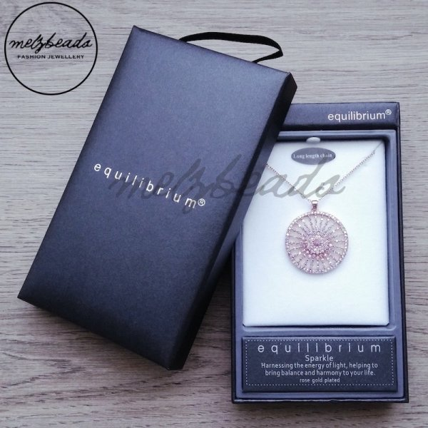 Equilibrium Kaleidoscope Long Necklace Silver Rose Gold Plated Gift Boxed