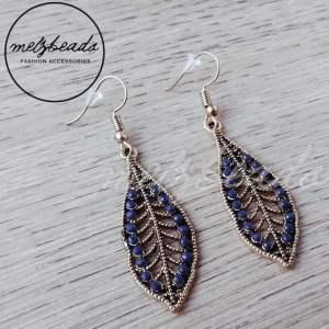 Navy leaf earrings
