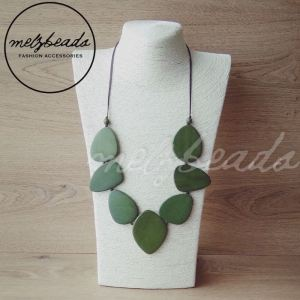 Olive green wooden necklace