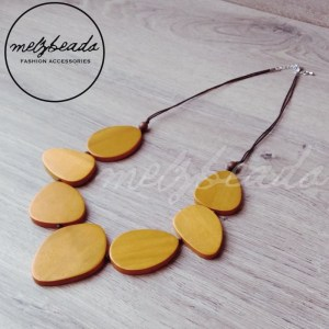 Yellow Mustard Leaves Wooden Necklace