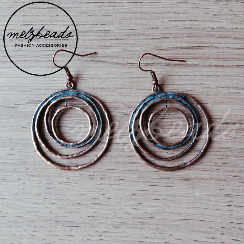Circular Antique Copper Turquoise Dangle Earrings