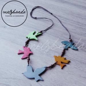 Wooden Colourful Sparrow Bird Necklace