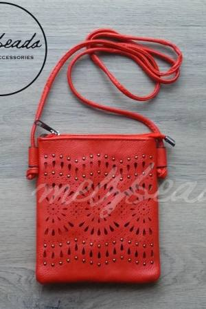 Red Faux Leather Crossover Bag