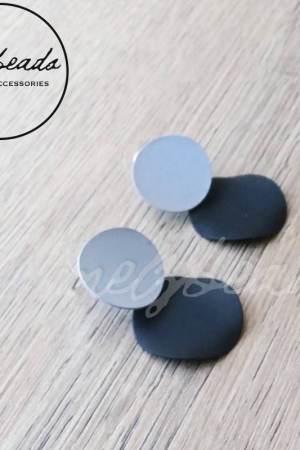 Black Grey Geometric Earrings