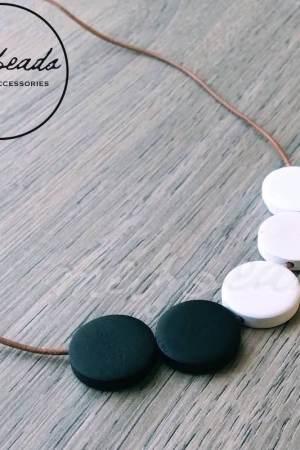 Black White Wooden Disk Necklace