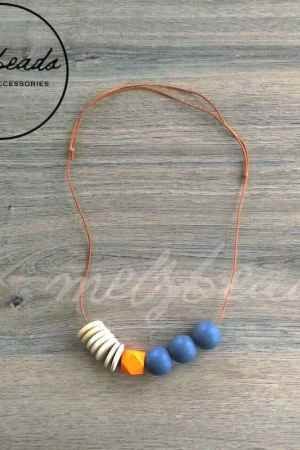 Orange Grey Natural Geometric Wooden Bead Necklace