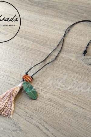 Long Purple Tassel Leaf Pendant Necklace