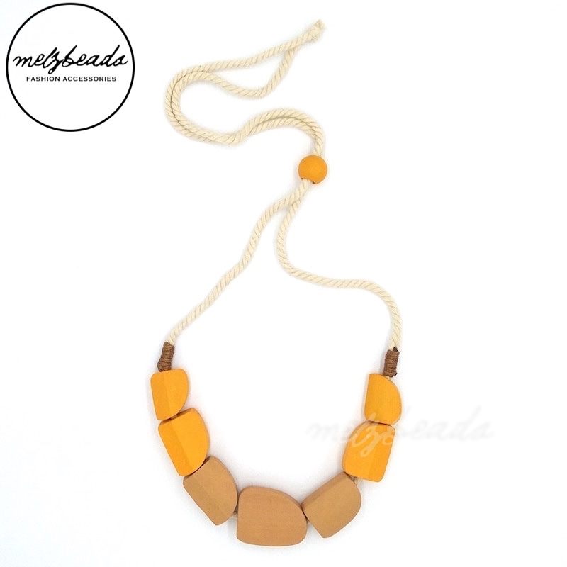 Cala Wooden Bead Mustard Necklace