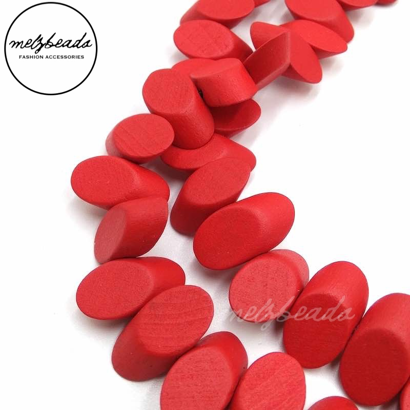 Wooden Confetti Red Necklace