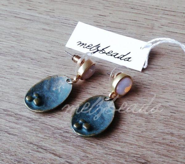 Green Opal Shell Drop Earrings