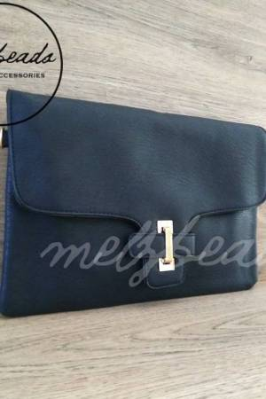 Navy Leather Clutch Shoulder Bag
