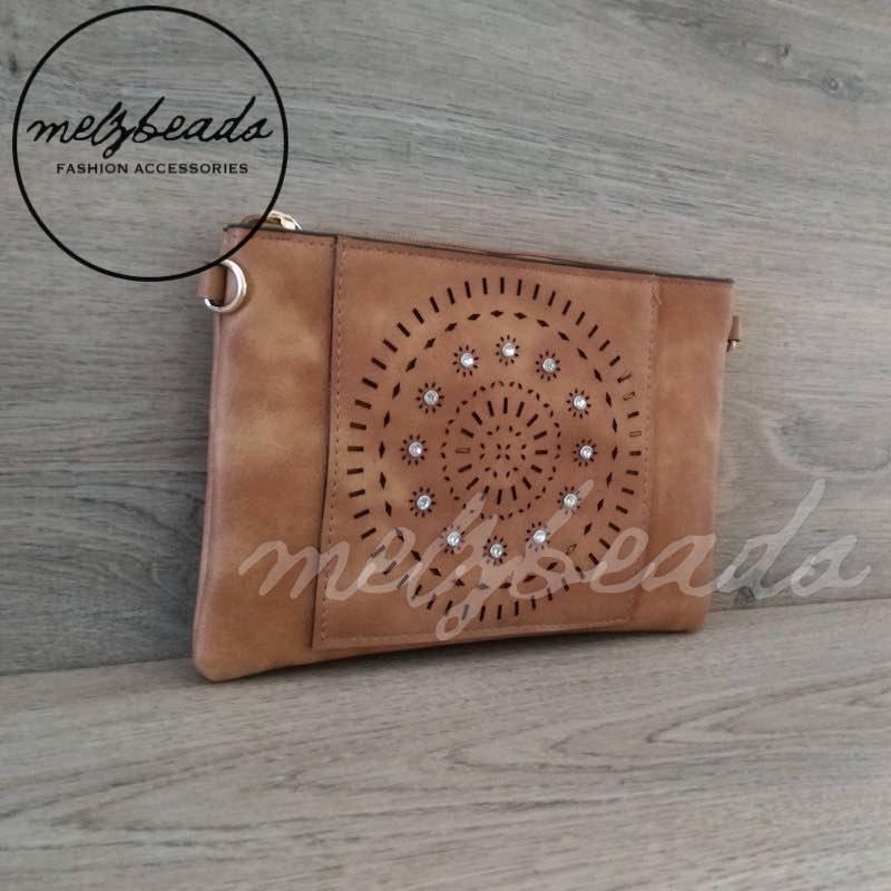 Brown Leather Clutch Pattern Shoulder Bag